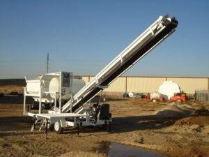 Portable Concrete Batching Plant 2CL5-2 Extended Conveyor Raised
